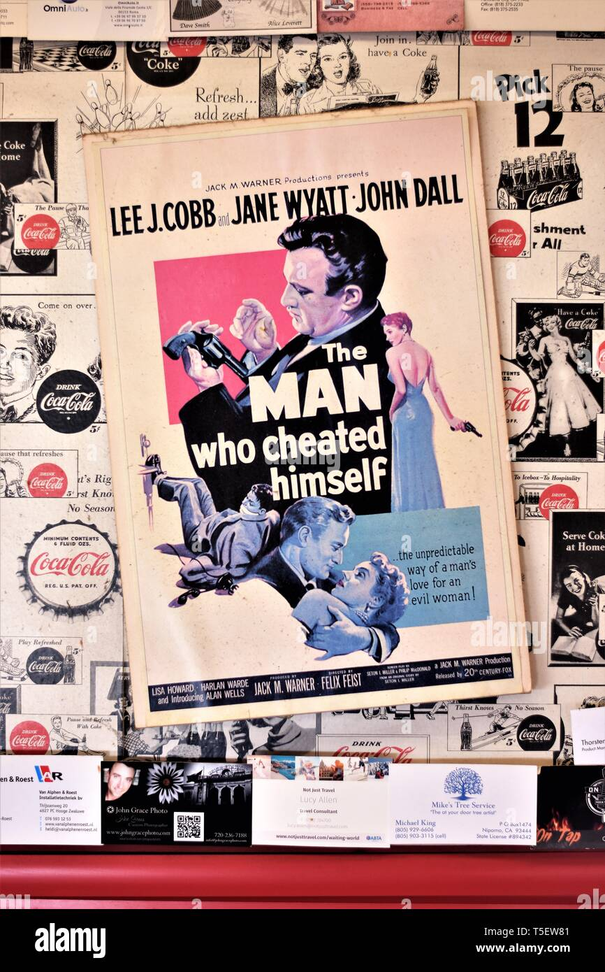 Movie poster for the film The Man Who Cheated History with Lee J. Cobb, Jane Wyatt  which was filmed in California in 1950 - Stock Image