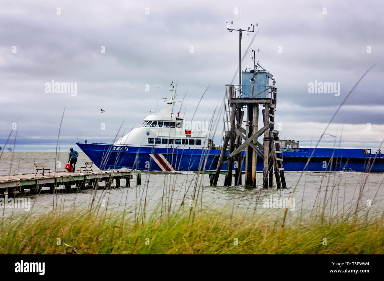 Judy D An Offshore Supply Ship Passes The Public Boat Launch And Noaa National Data Buoy Weather Tower In Dauphin Island Alabama Stock Photo Alamy
