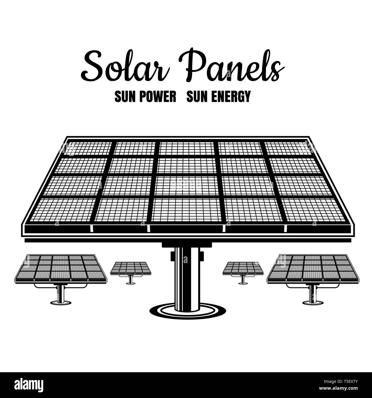 Energy of future, solar panels vector vintage illustration. Black silhouettes on white - Stock Image