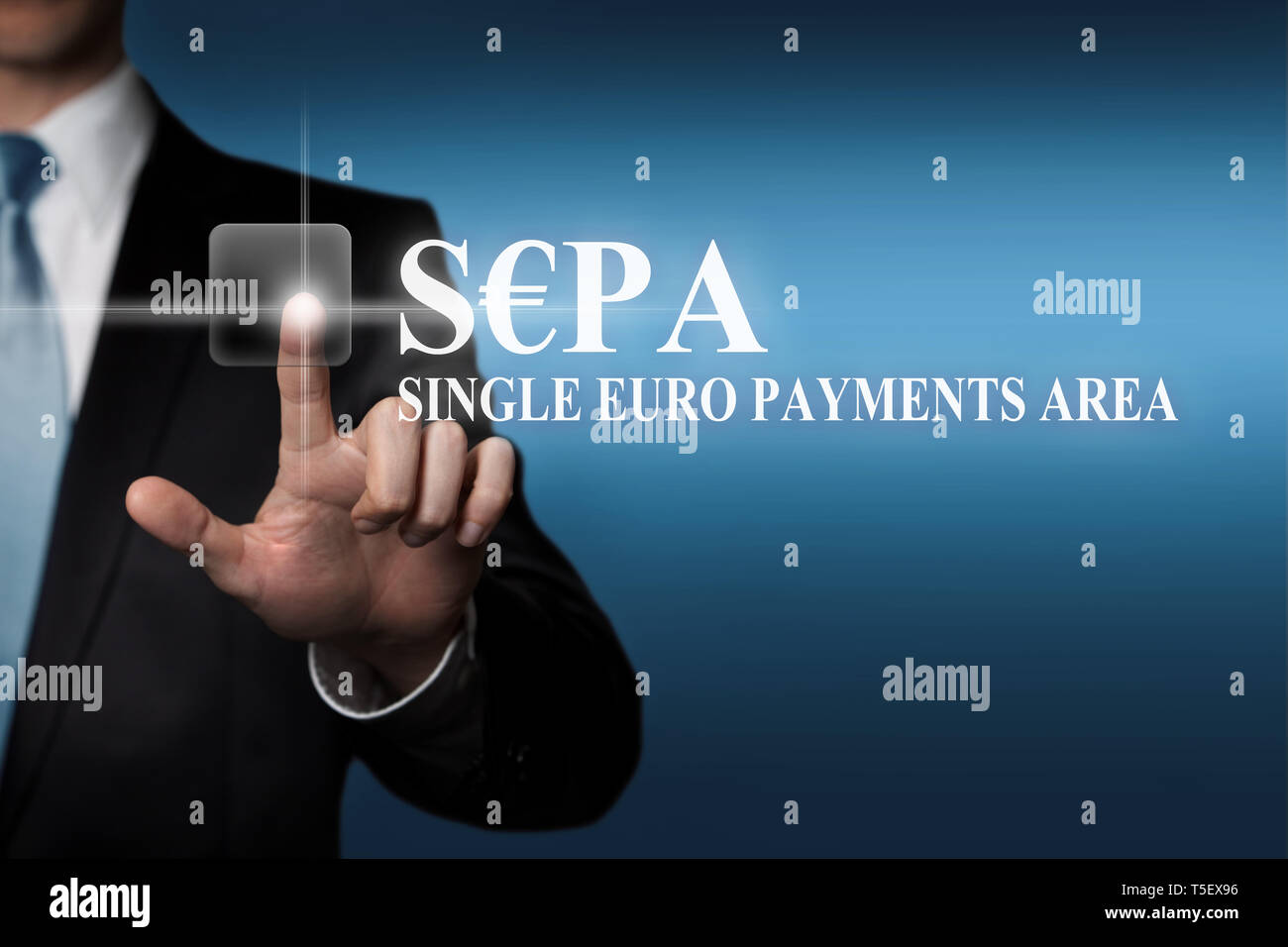 business concept - businessman presses virtual touchscreen button - SEPA Single Euro Payments Area - Stock Image