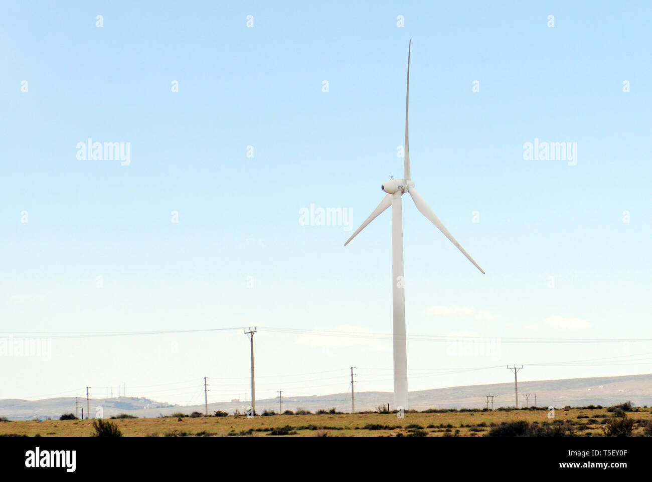 A Wind Turbine at a renewable Energy farm in Jordan. - Stock Image