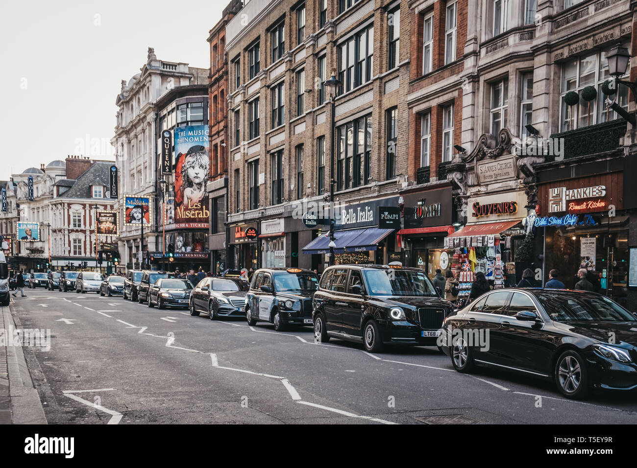 London, UK - April 13, 2019: Traffic on Shaftesbury Avenue, a major street in the West End of London, named after Anthony Ashley Cooper, 7th Earl of S Stock Photo