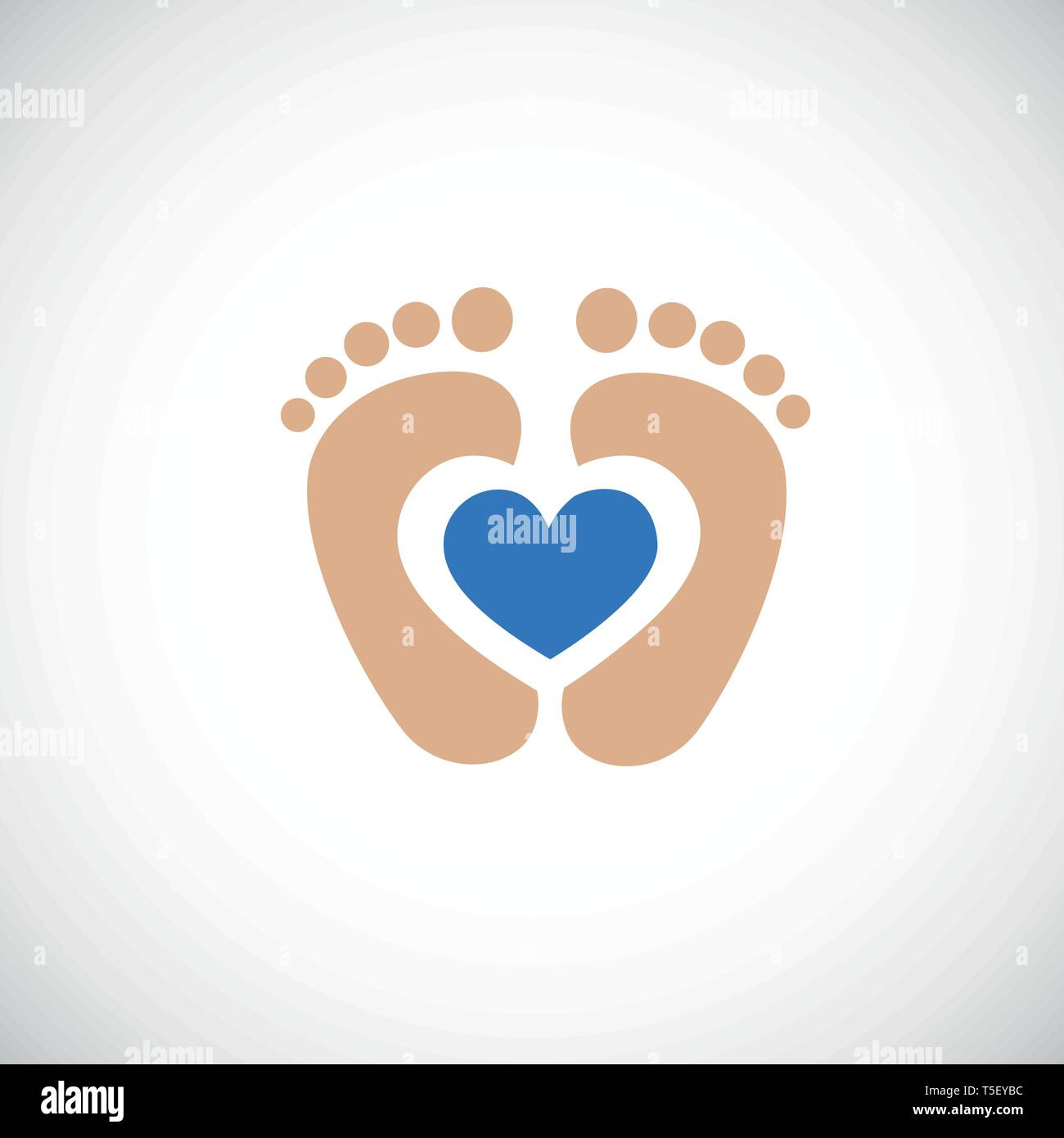 baby feet footprint with blue heart vector illustraton - Stock Vector