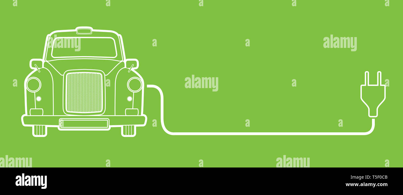 Electric Car With Plug Concept, Green Hybrid Vehicles – Free Congestion Zone - Ultra Low Emission Zone -  Eco vehicle concept, Vector illustration - Stock Image