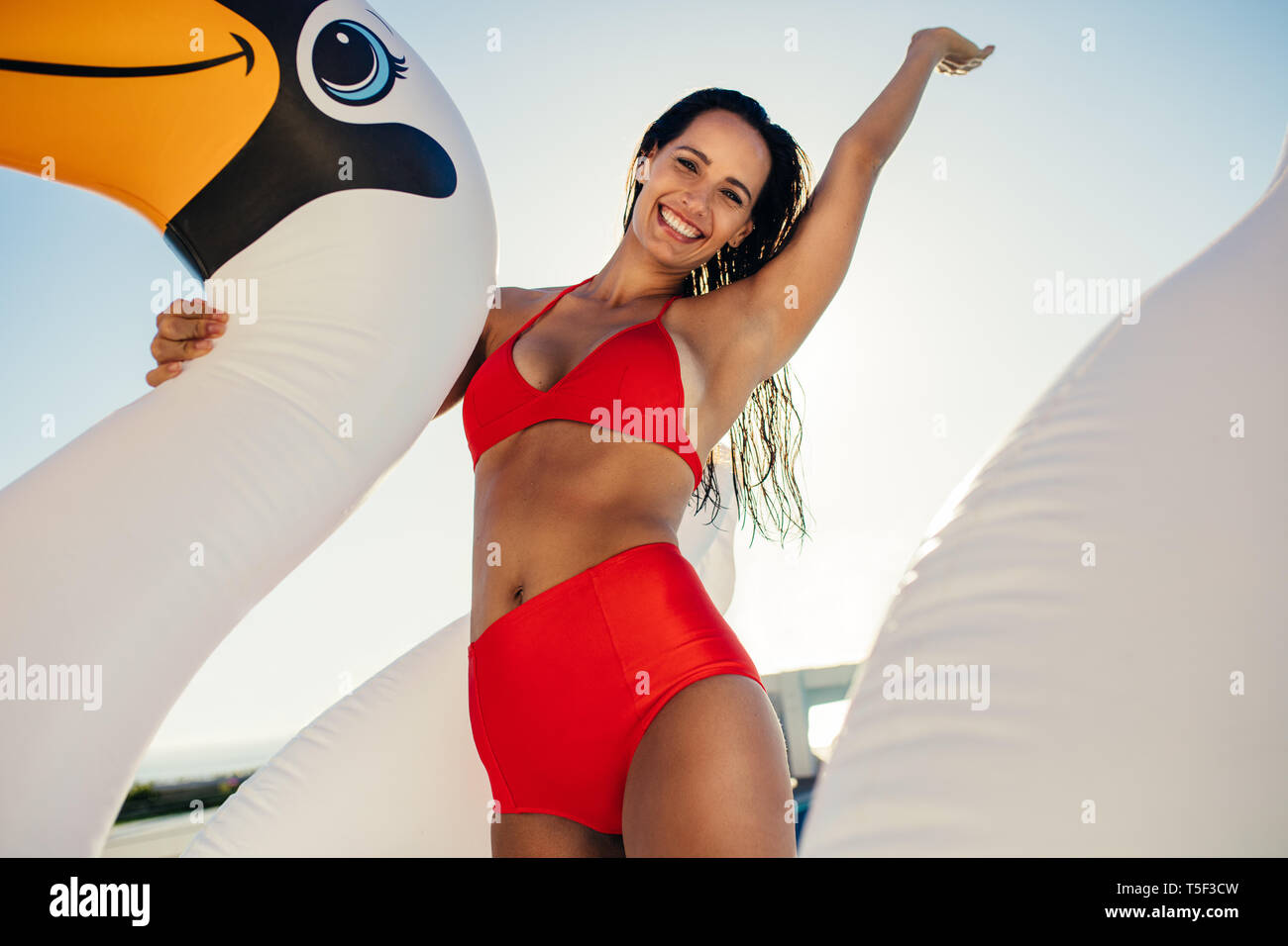 Young woman in bikini on inflatable pool toy and having fun. Caucasian female enjoying summer vacation in a swimming pool. - Stock Image