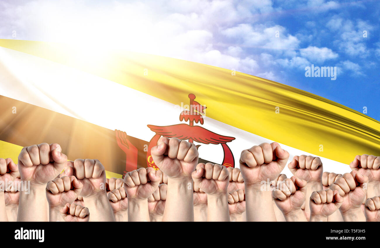 Labor Day concept with fists of men against the background of the flag of Brunei - Stock Image