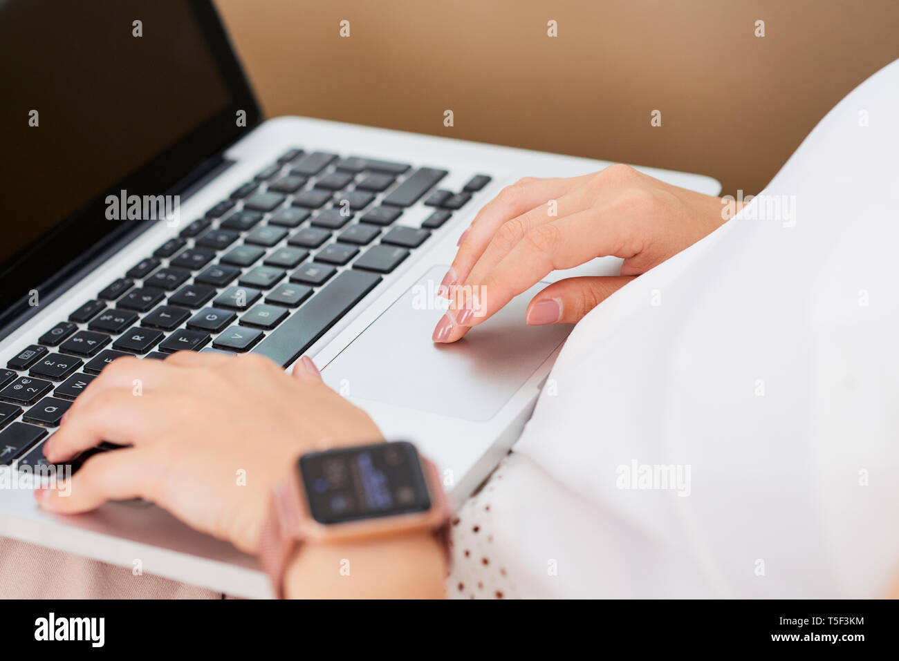 Hands of woman working on laptop - Stock Image