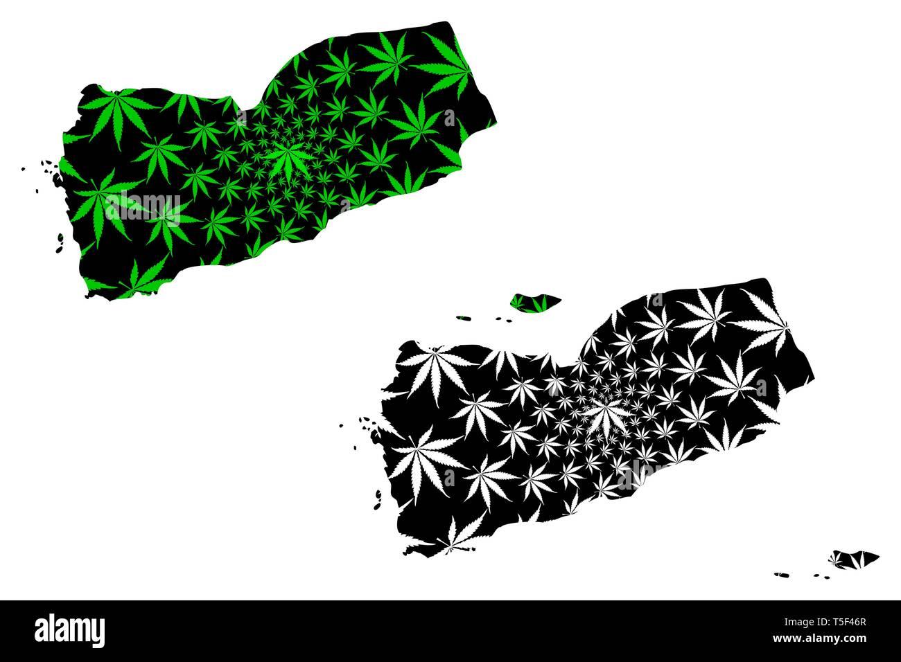 Yemen - map is designed cannabis leaf green and black, Republic of Yemen map made of marijuana (marihuana,THC) foliage, - Stock Vector