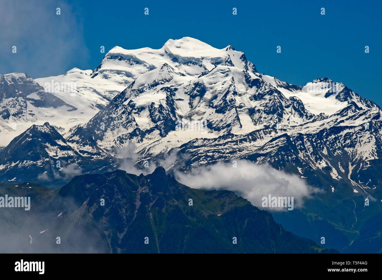 Snow-covered Grand Combin massif, Pennine Alps, Bourg-Saint-Pierre, Valais, Switzerland - Stock Image
