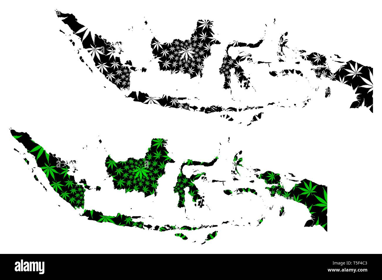 Indonesia - map is designed cannabis leaf green and black, Republic of Indonesia map made of marijuana (marihuana,THC) foliage, - Stock Image