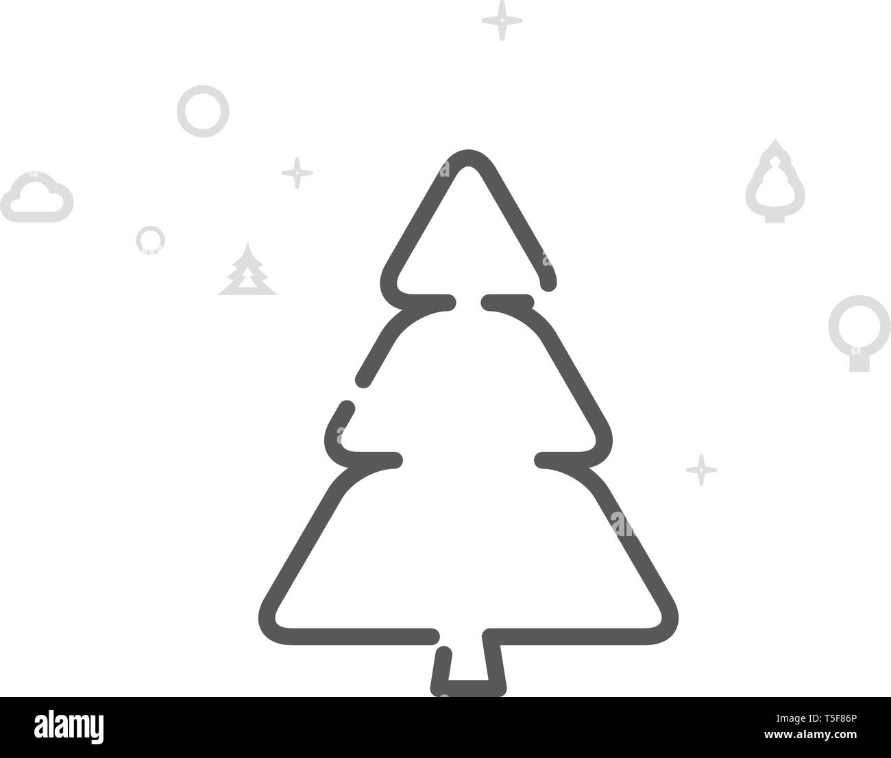 Fir Tree, Spruce Vector Line Icon. Wild Tree Symbol, Pictogram, Sign. Light Abstract Geometric Background. Editable Stroke. Adjust Line Weight. - Stock Vector
