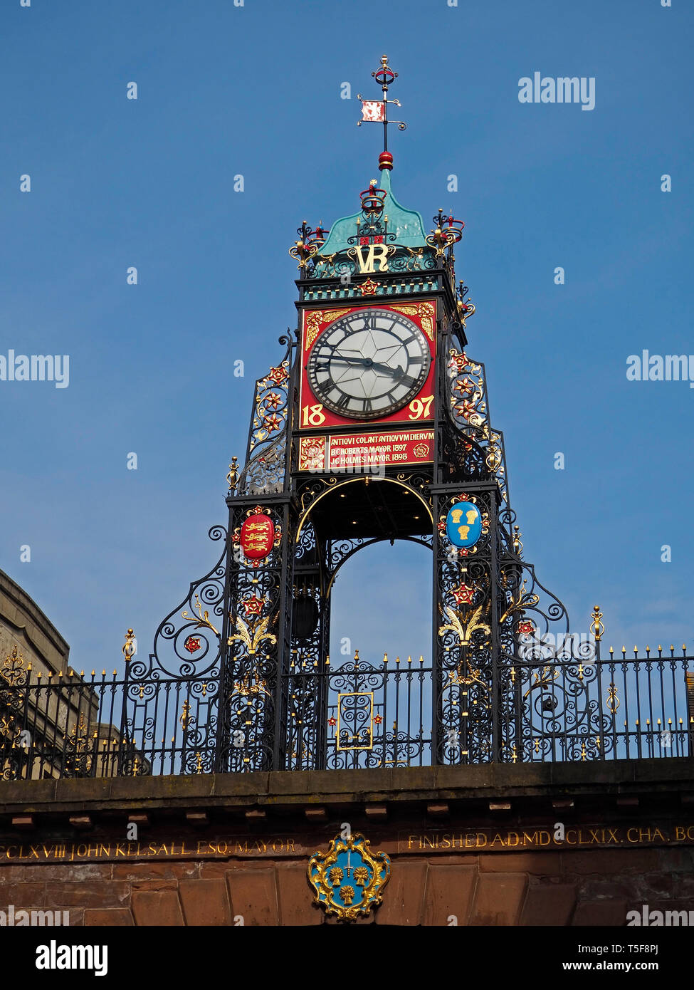 Victorian Eastgate Clock Chester City, England UK United Kingdom Europe - Stock Image