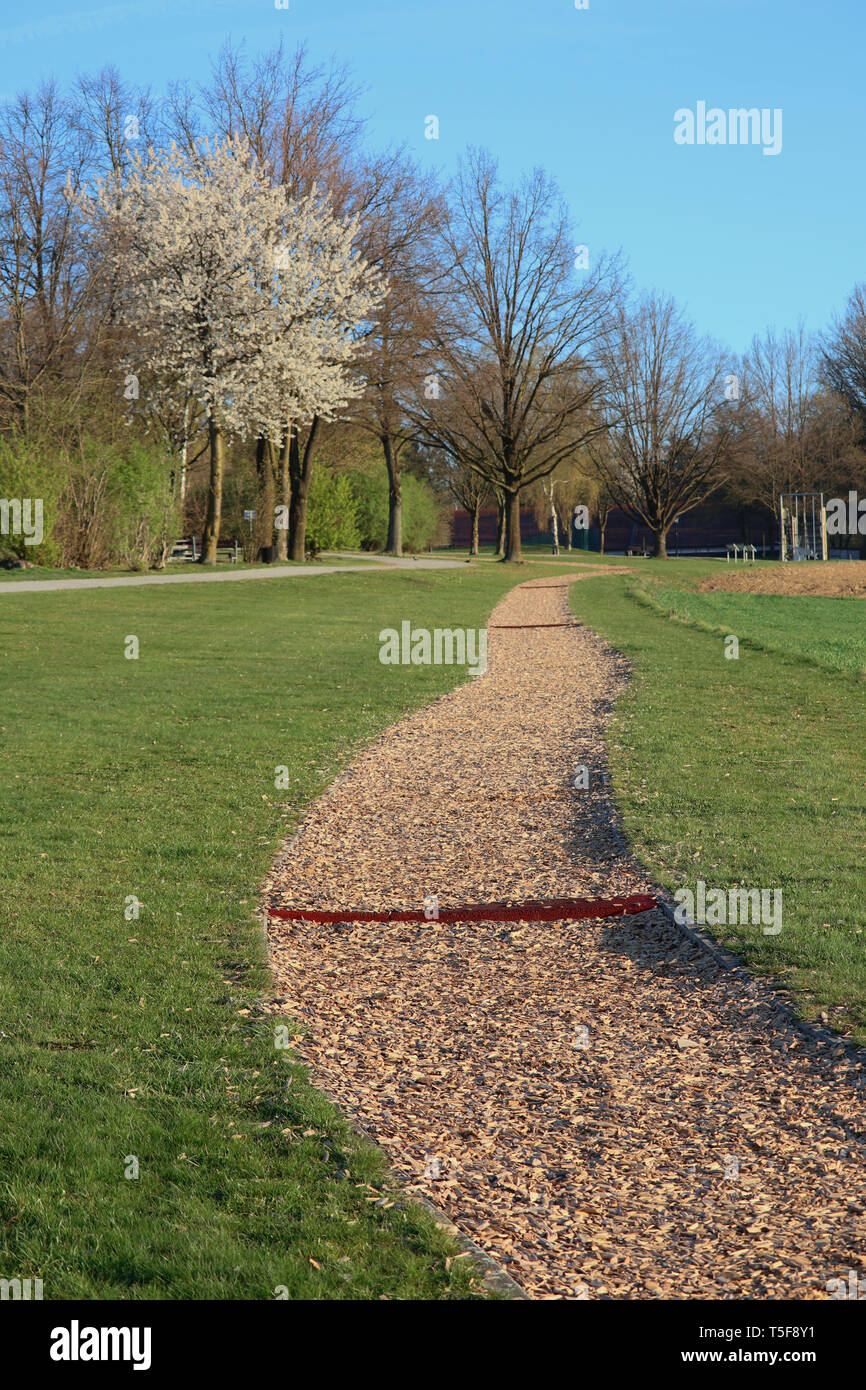 barefoot path with wood chips - Stock Image