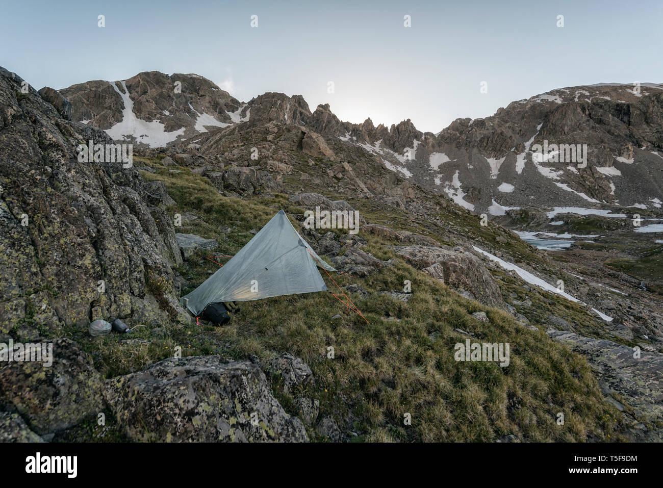 Alpine camp in Colorado - Stock Image