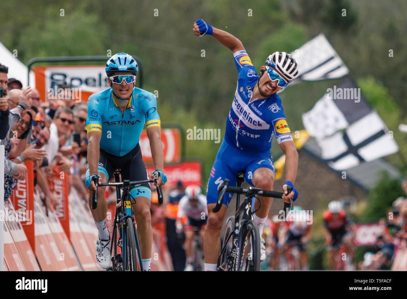 24 april 2019 Huy, Belgium Cycling La Fleche Wallone    Julien Alaphilipe winaar Waalse Pijl mannen wint de Waalse Pijl Stock Photo