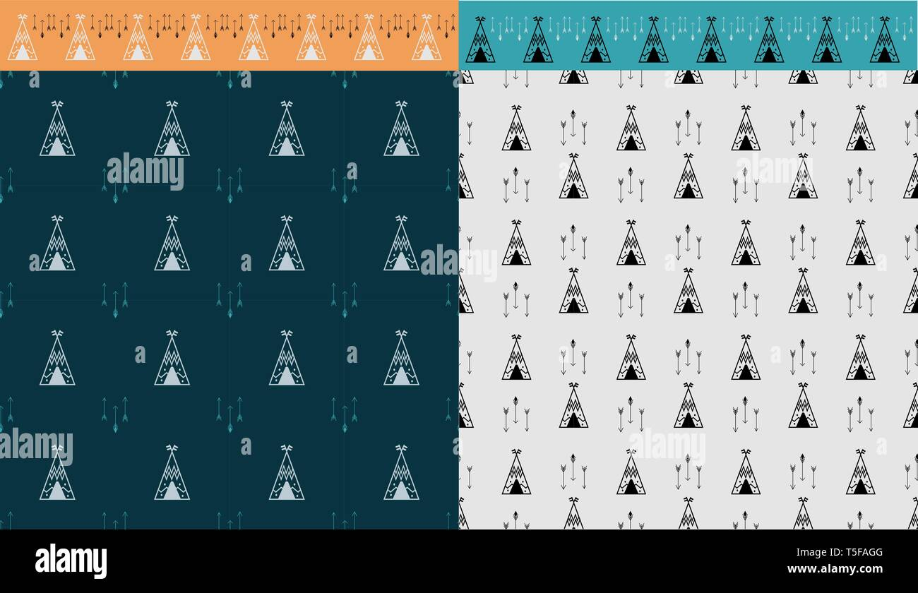 Two tile with wigwam and arrow seamless pattern. And brush tepee. grafic for print poster, wall art, web backdrop, design invation party. Vector illus Stock Vector