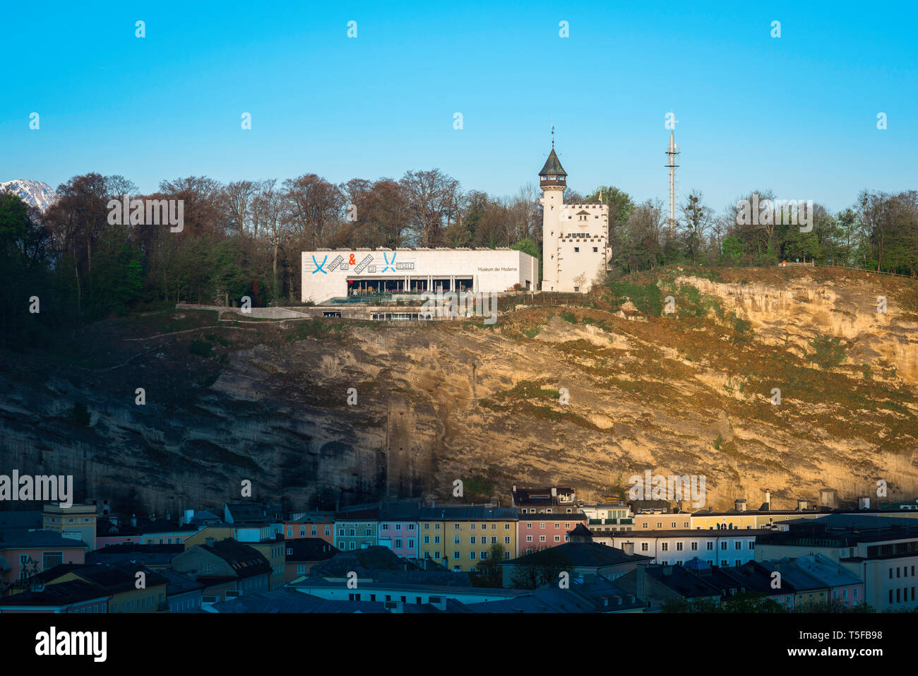 Museum Der Moderne Salzburg, view of the Museum Der Moderne sited on top of Monchsberg hill overlooking the city of Salzburg, Austria. Stock Photo
