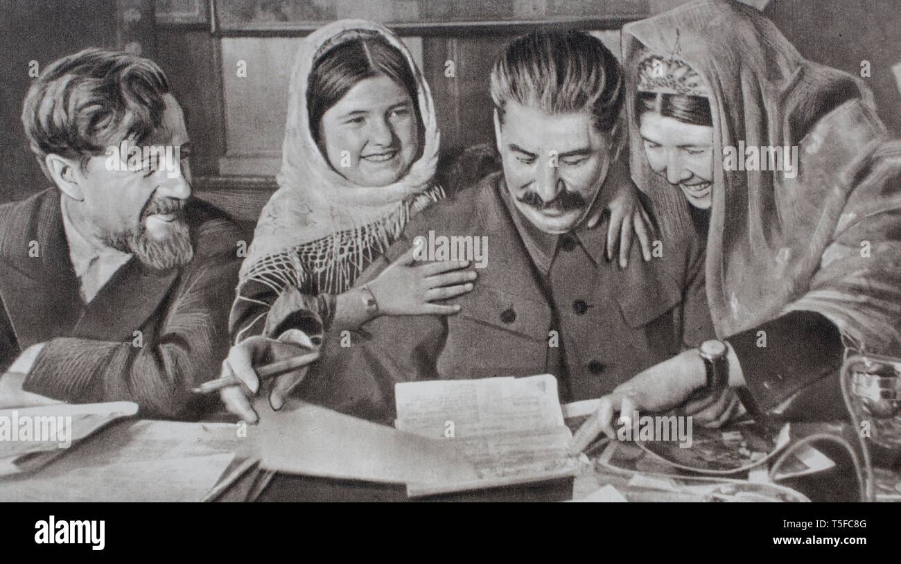 Joseph Vissarionovich Stalin on the soviet propaganda poster, by his example, opened the doors of the school to the people. - Stock Image