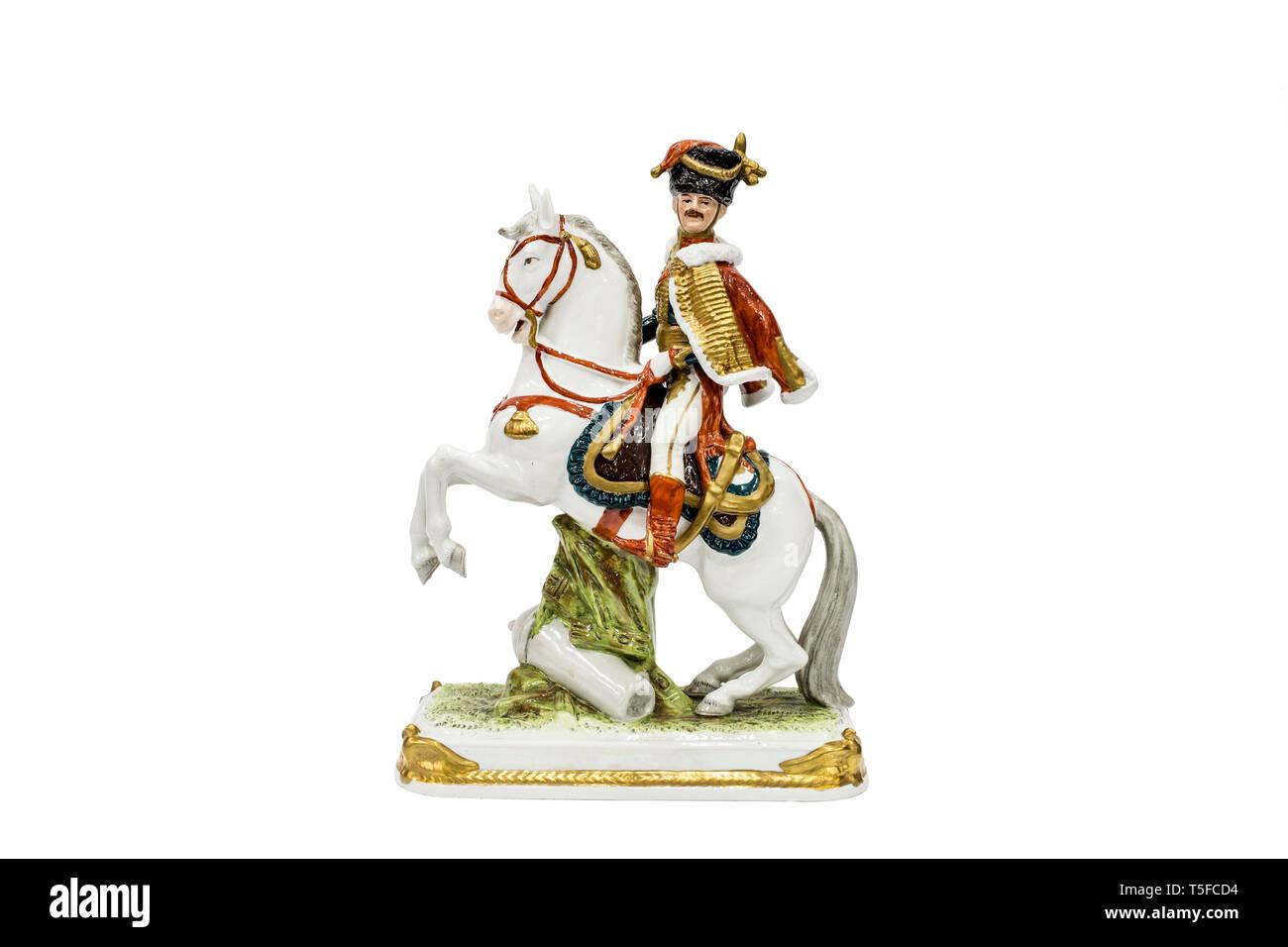 Porcelain figurines of Eugène Rose de Beauharnais, one from commanders of Napoleon Bonaparte - Stock Image