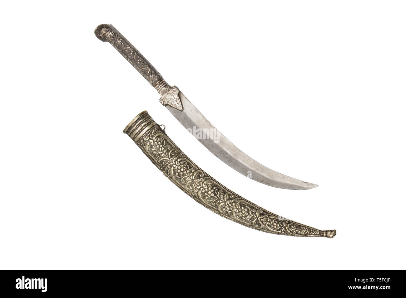 The 19th century Greek dagger with curved double edged pointy blade of flattened diamond shape. - Stock Image