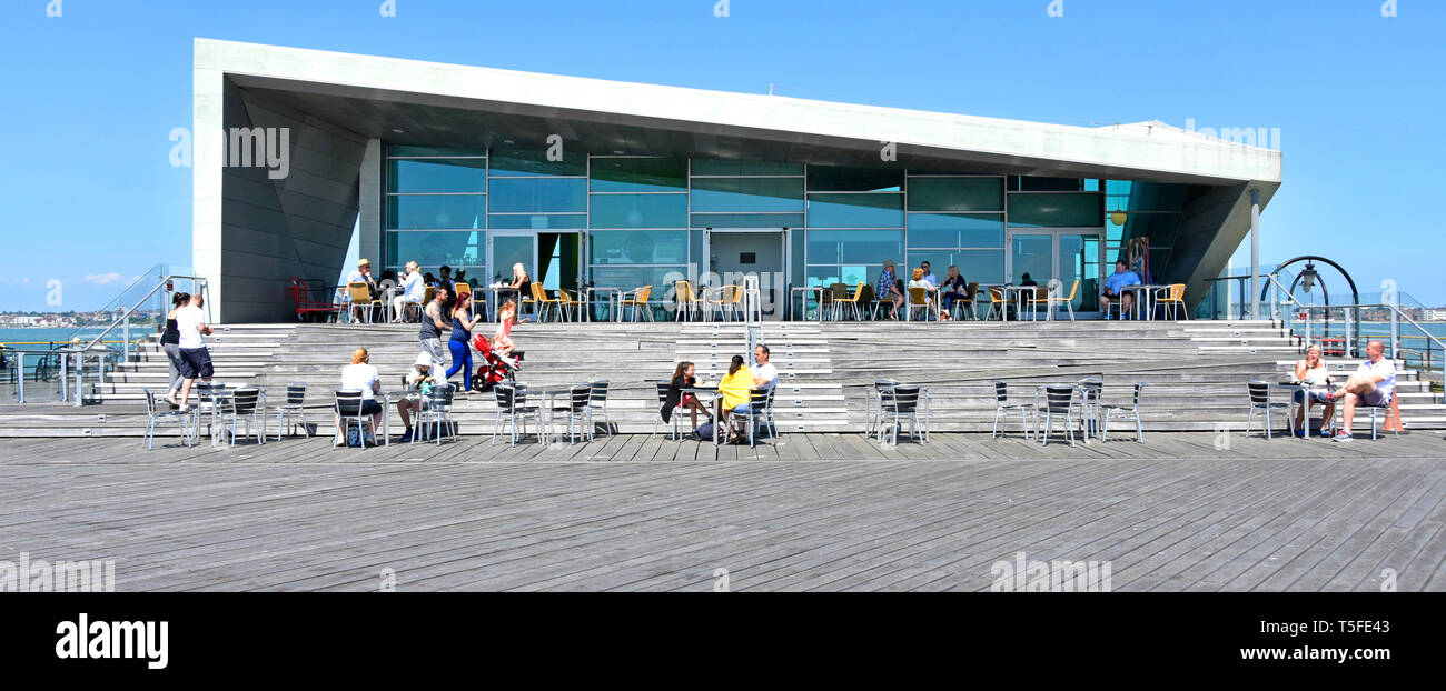 Southend Pier  modern building & architecture at Royal Pavilion pier head café people eating out Southend on sea River Thames estuary Essex England UK - Stock Image