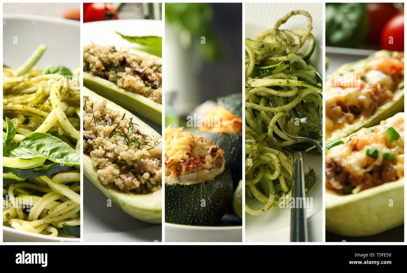 Collection of tasty dishes with zucchini, closeup Stock Photo