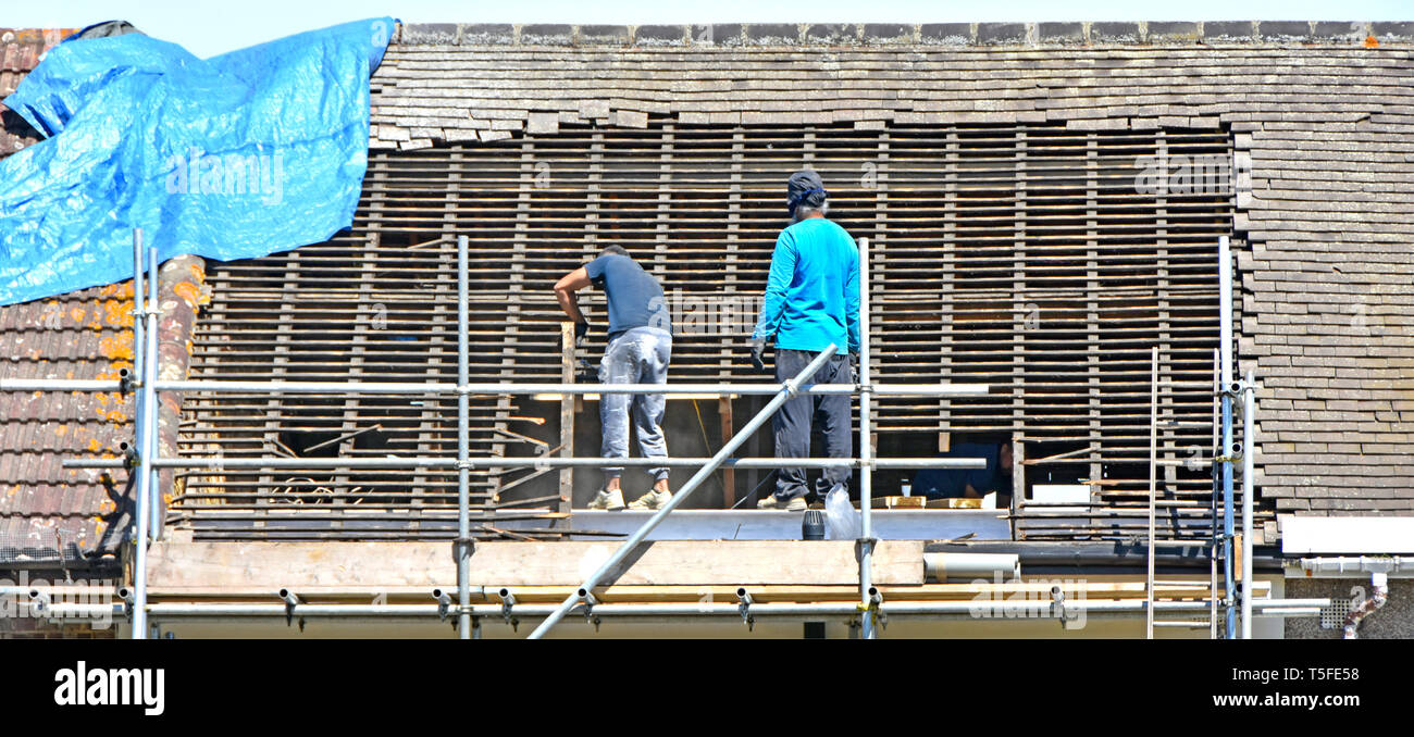 Builder workers on scaffolding removing roof tiles & timber in preparation for new dormer attic room in loft of terraced house Romford East London UK - Stock Image