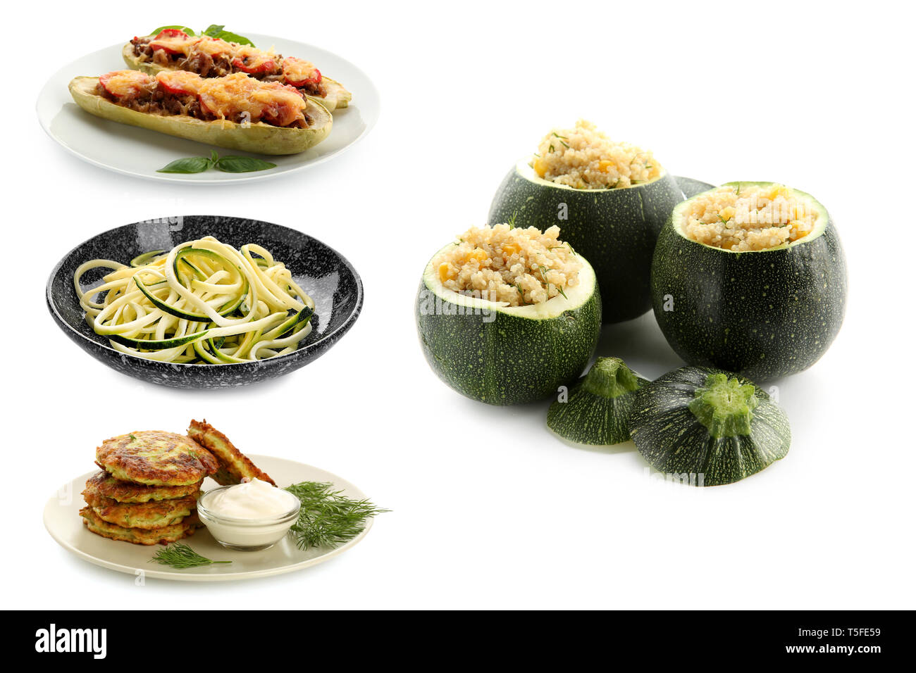 Different tasty dishes with zucchini on white background Stock Photo