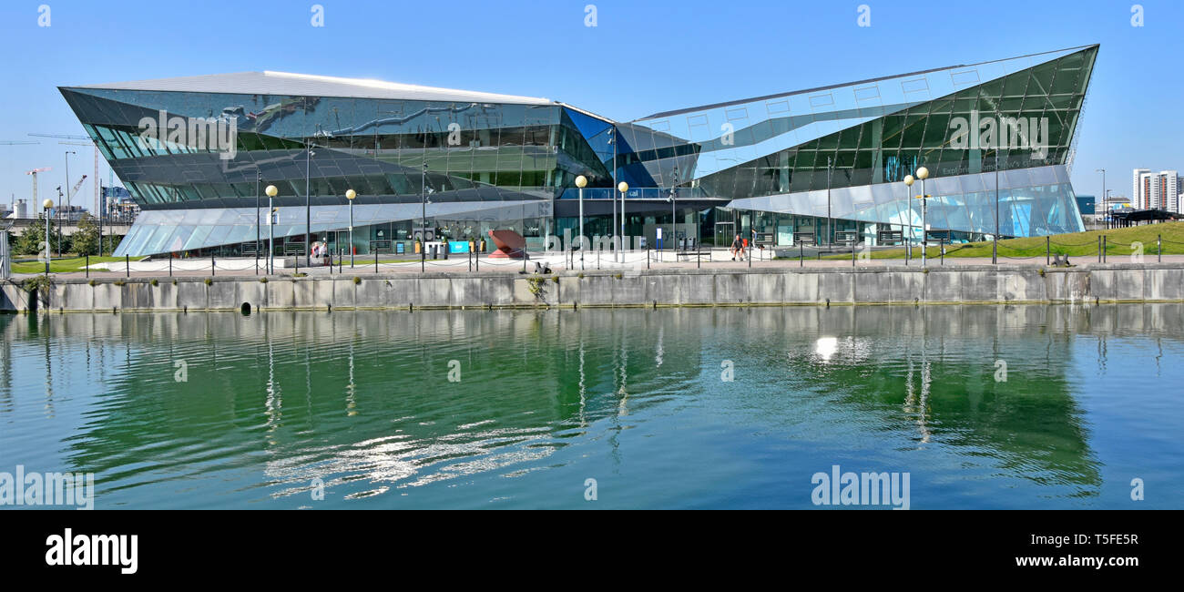 Siemens Crystal is  public exhibition & modern learning centre building about sustainable development & living Royal Victoria Docks Newham East London - Stock Image