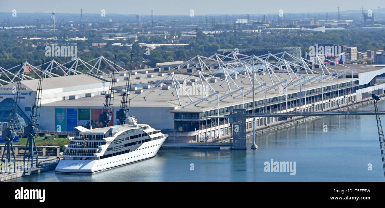 Aerial view Sunborn yacht floating hotel Royal Victoria Dock & roof of Excel Exhibition Centre East London Docklands urban landscape Newham England UK - Stock Image