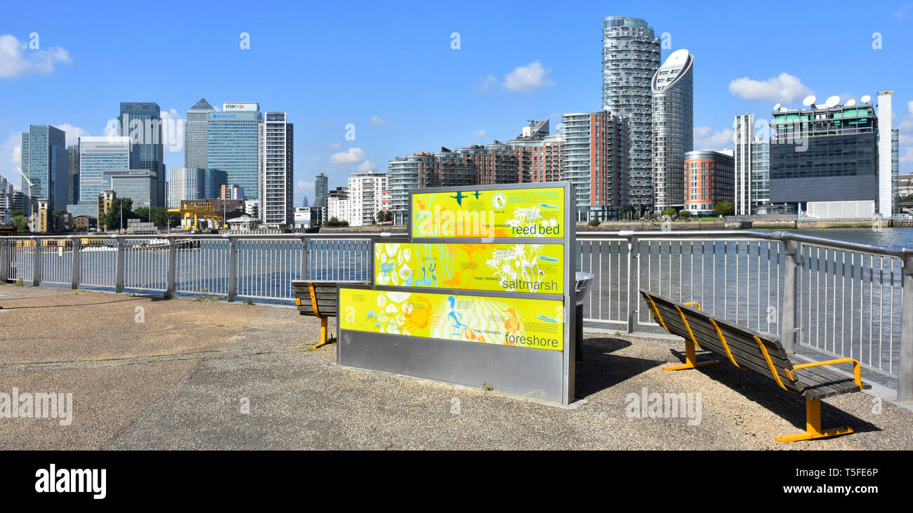 River Thames infographic panel riverside footpath & cycle path modern building skyline along far shoreline at Canary Wharf from Greenwich Peninsula UK - Stock Image