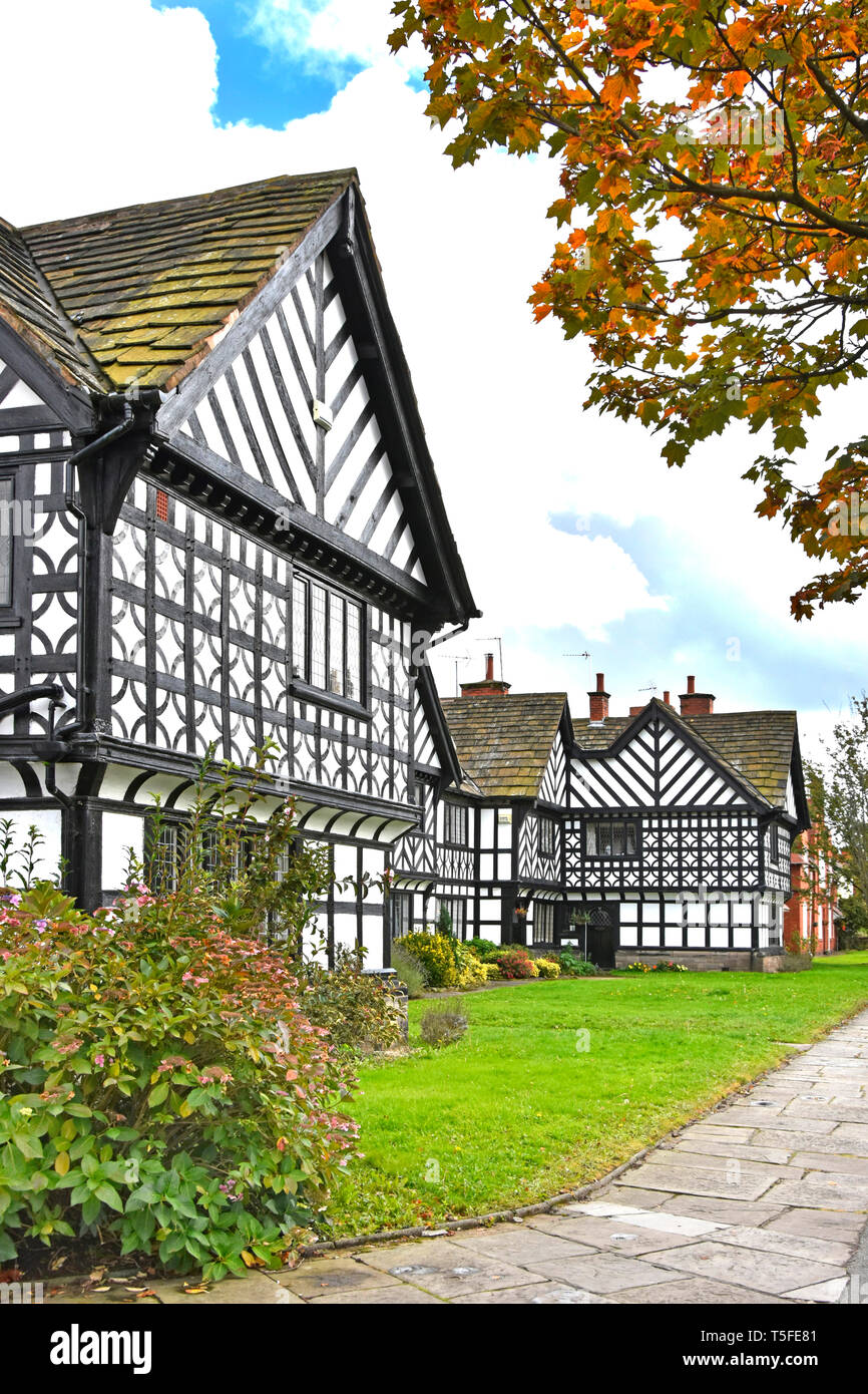 Black & White panels on housing in Port Sunlight landscaped model village built by Lever Brothers for factory workers  Wirral Merseyside England UK - Stock Image