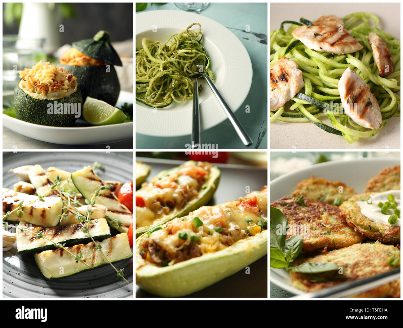 Collection of tasty dishes with zucchini Stock Photo
