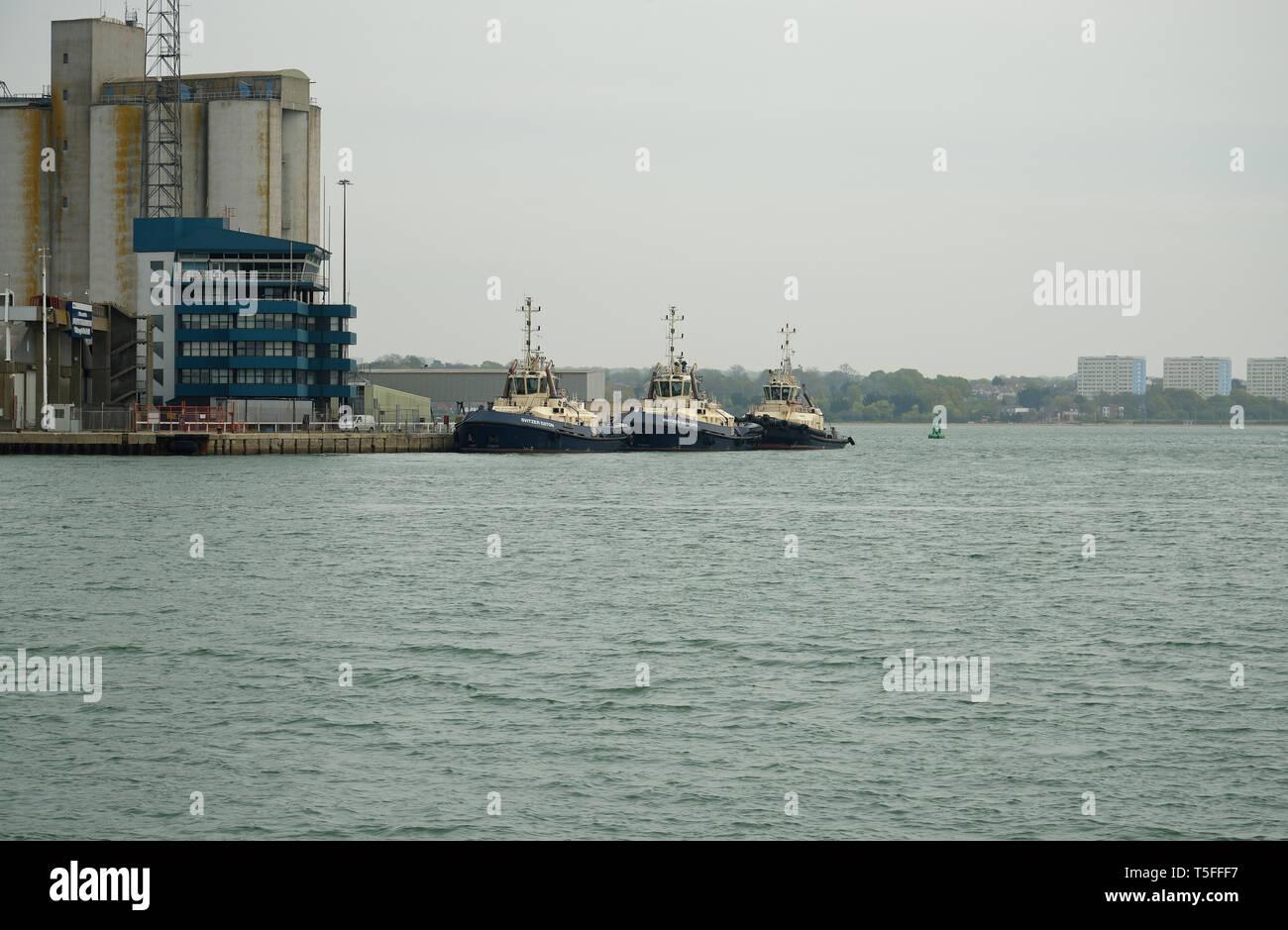 Three tugs in Southampton, Hmapshire, UK. - Stock Image