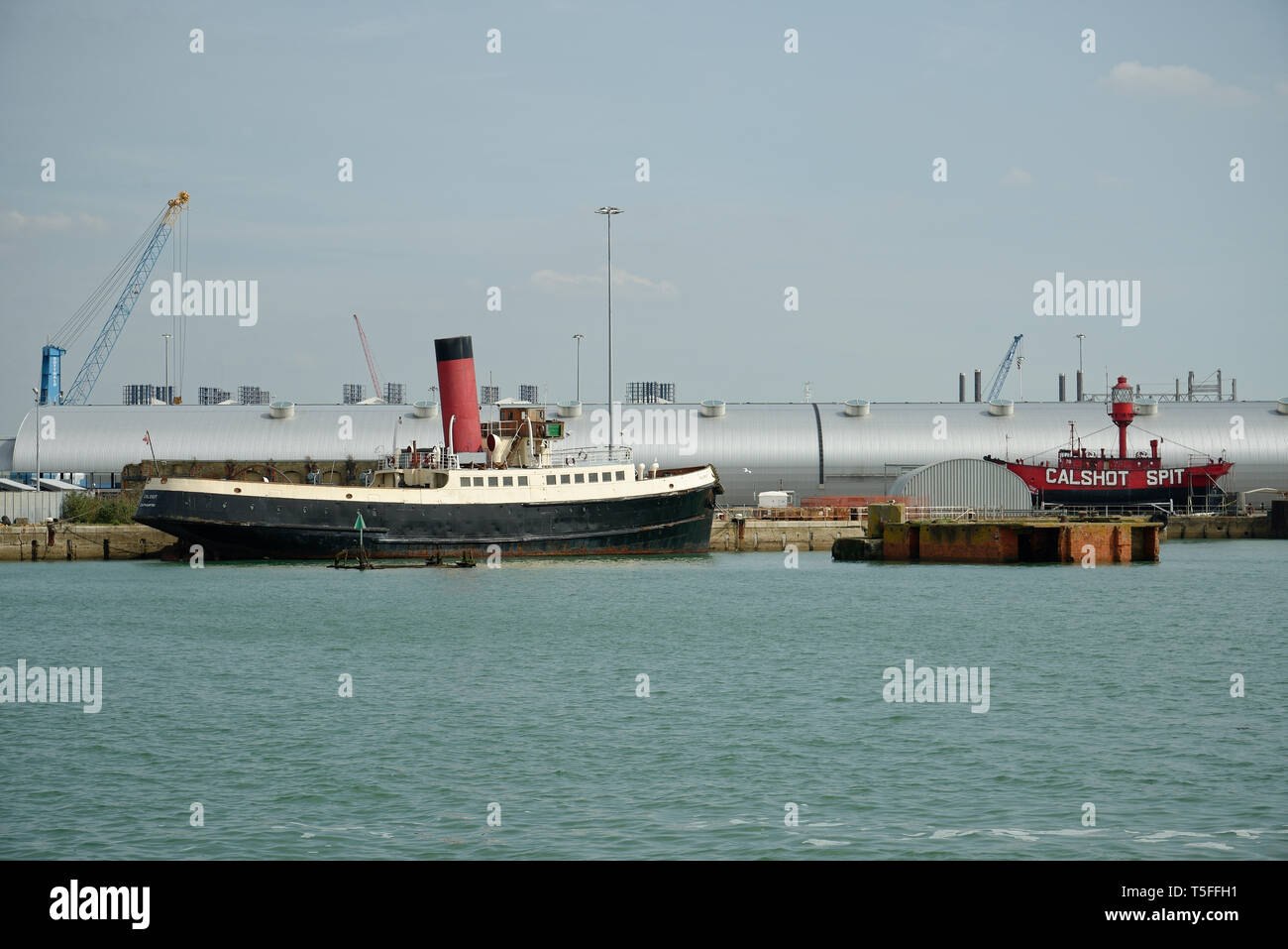 Calshot and Calshot Spit vessels in Southampton, UK. - Stock Image