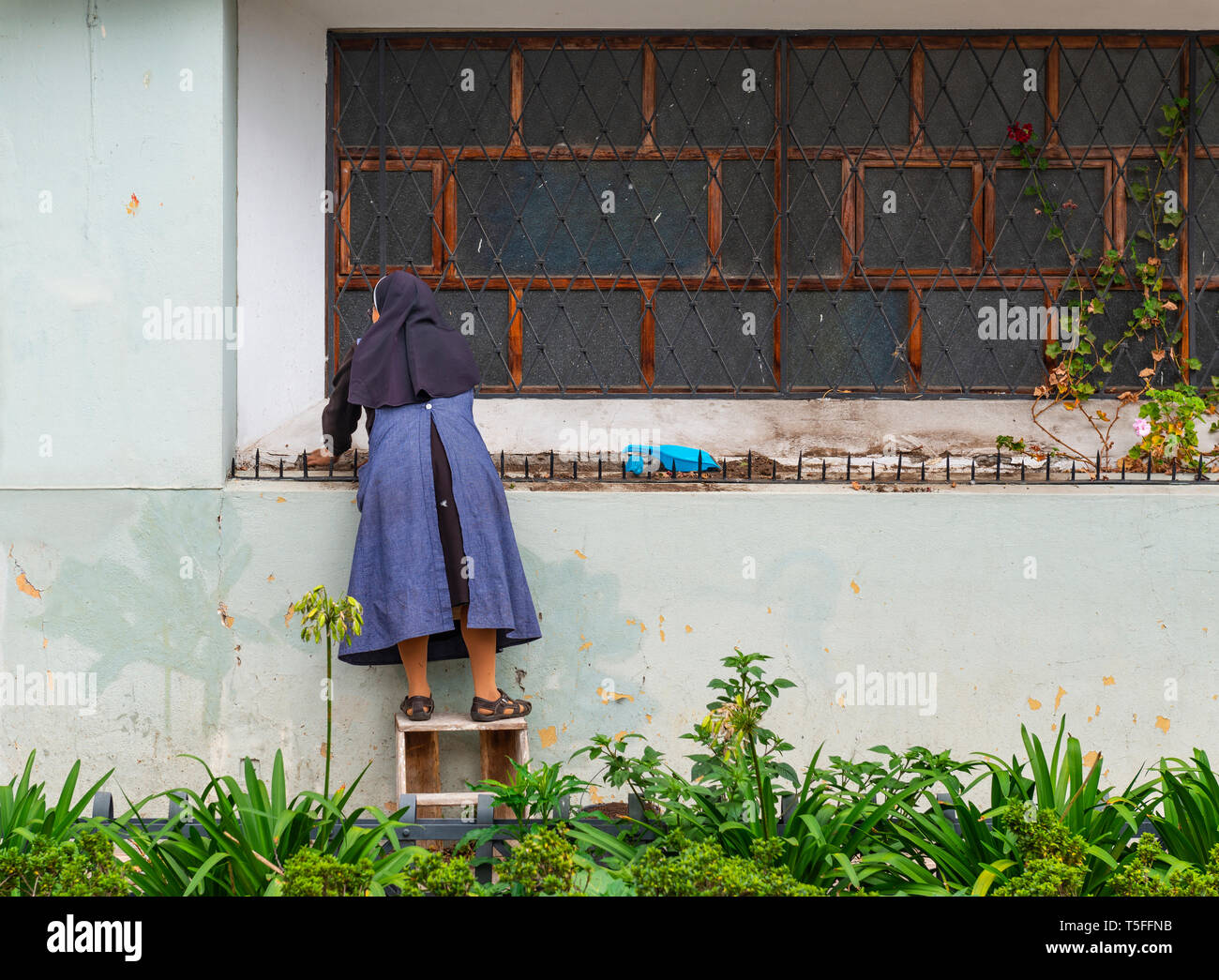 Catholic nun with habit cleaning the outside part of a convent in the city center of Cuenca, Ecuador. - Stock Image