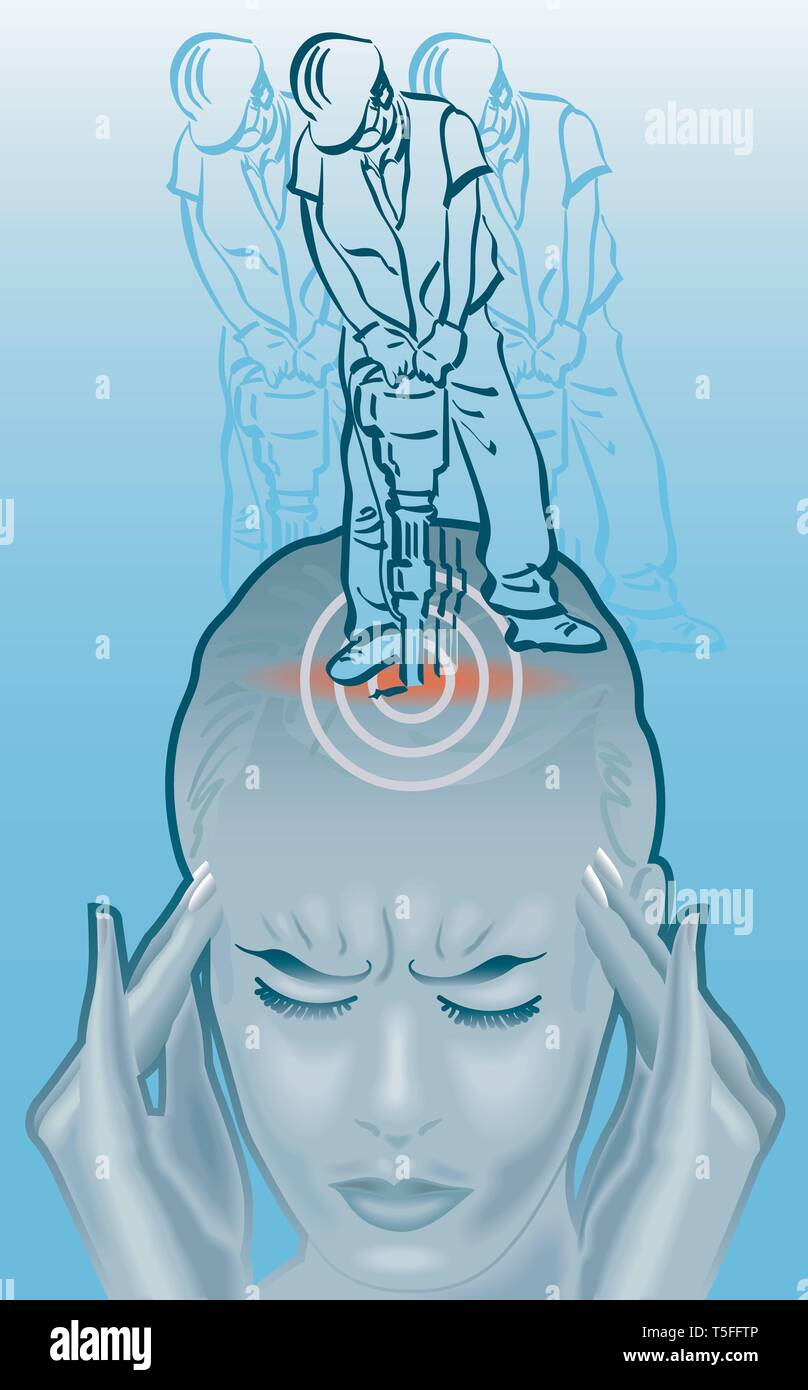 Illustration of someone holding their head, eyes closed and with a workman using a pneumatic drill on their skull: an example of extreme pain in a mig - Stock Image