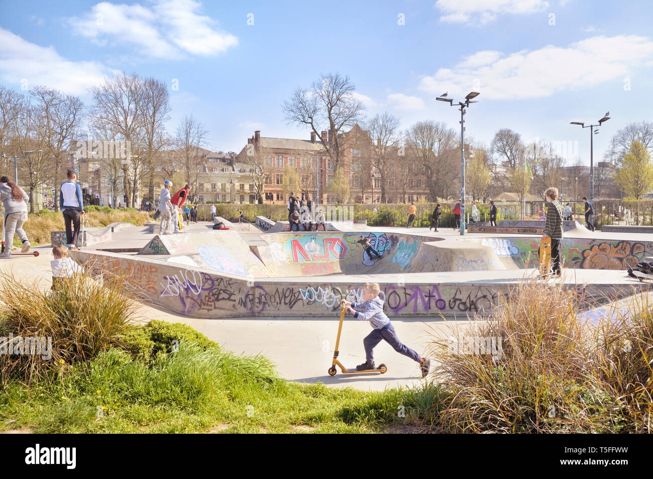 The Level Skatepark in Brighton, East Sussex, England, UK - Stock Image