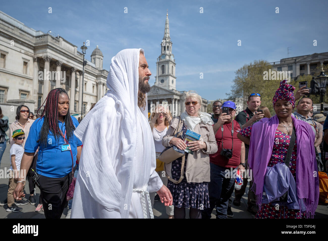 The Passion of Jesus play by the Wintershall Charitable Trust in Trafalgar Square on Good Friday, London, UK - Stock Image