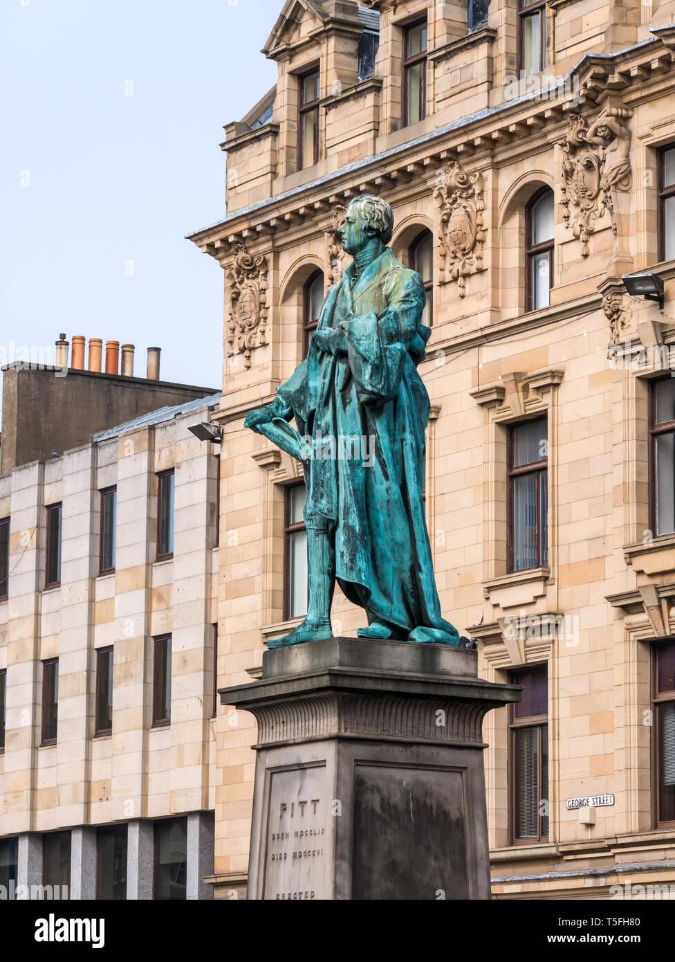 William Pitt the Younger bronze statue by Sir Francis Chantrey, George Street, Edinburgh New Town, Scotland, UK - Stock Image