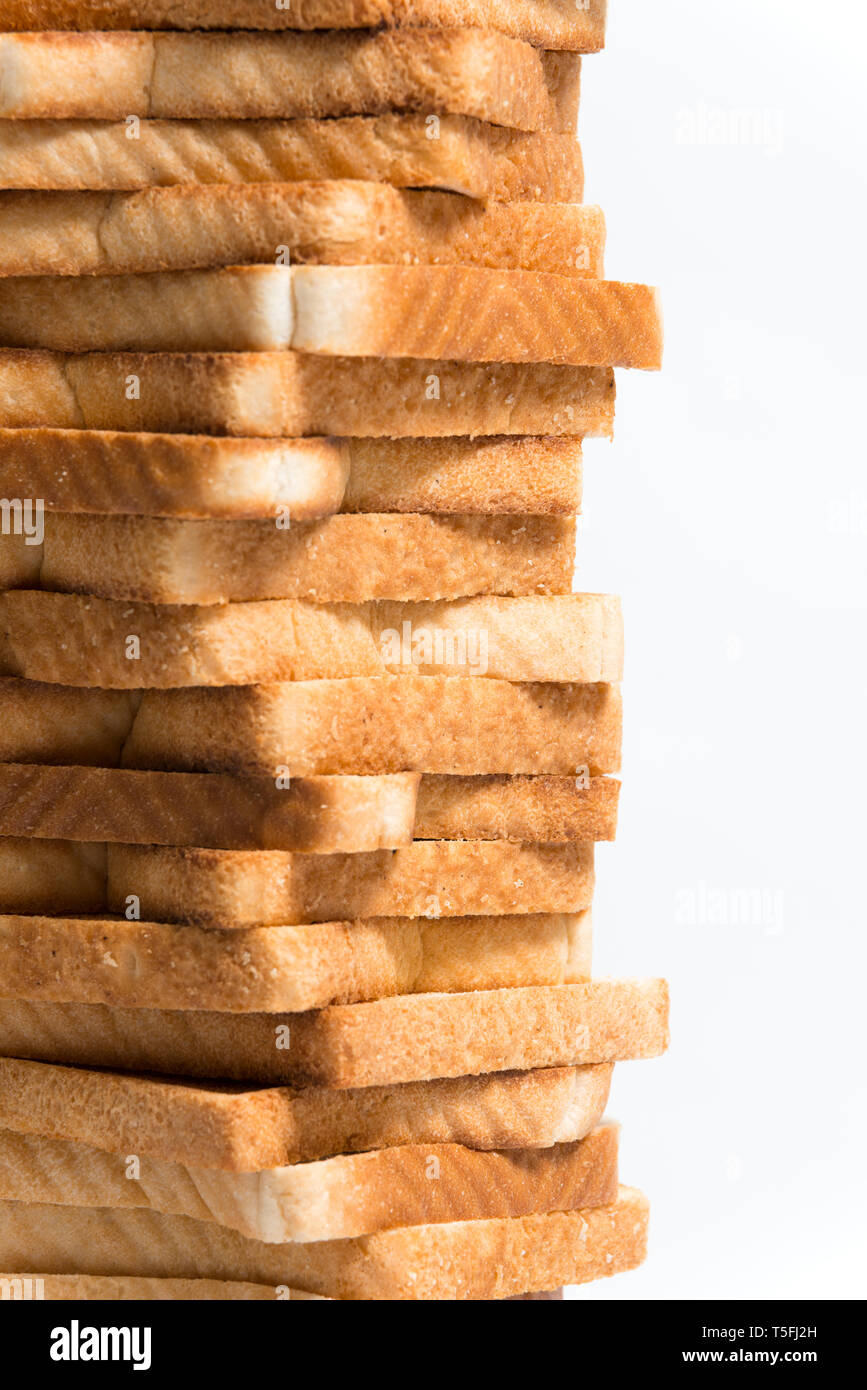 Close up detail of a tower of toasted bread Stock Photo