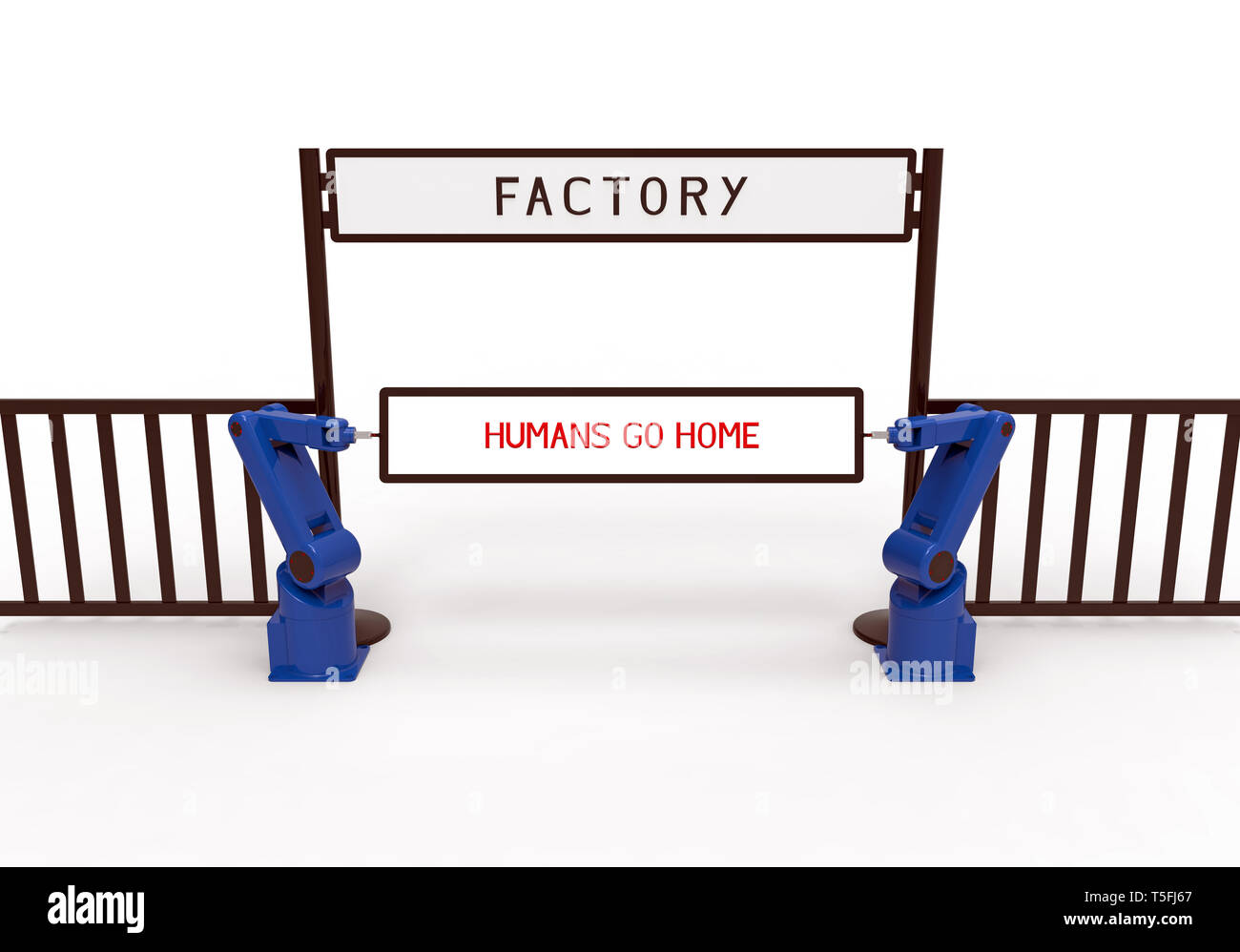 Two robots holding board with text humans go home in front of the factory, 3d rendering, on white background - Stock Image