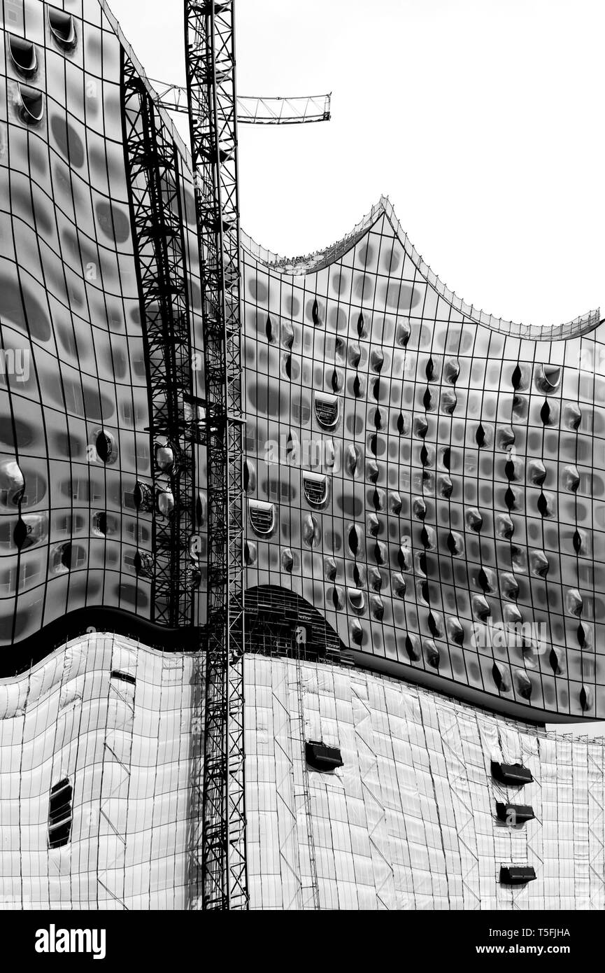 The modern facade and the construction of the Elbe Philharmonic Hall in Hamburg. - Stock Image