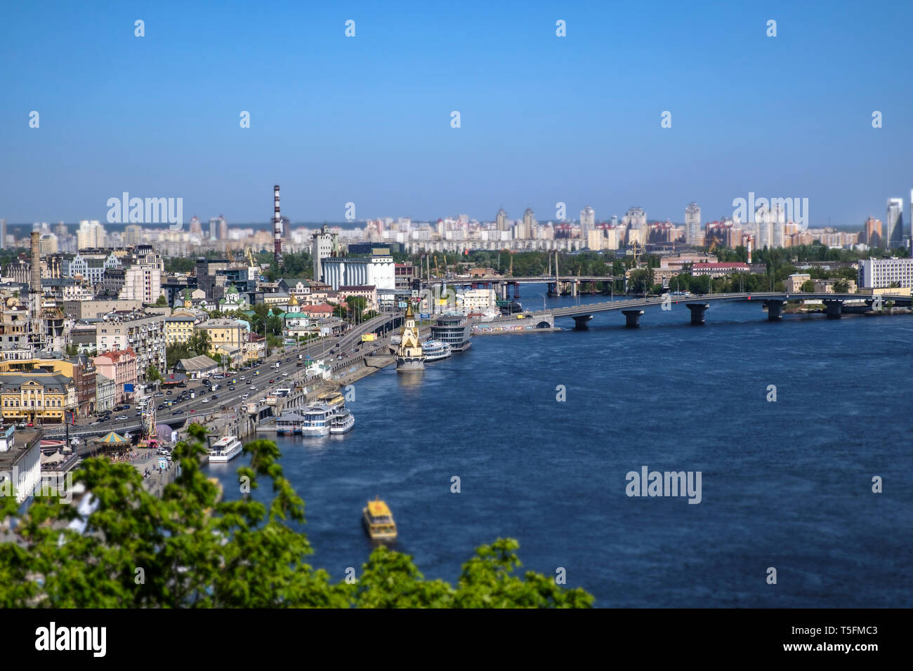 A view over Kiev in Ukraine, to the left with the river dnepr on the right Stock Photo