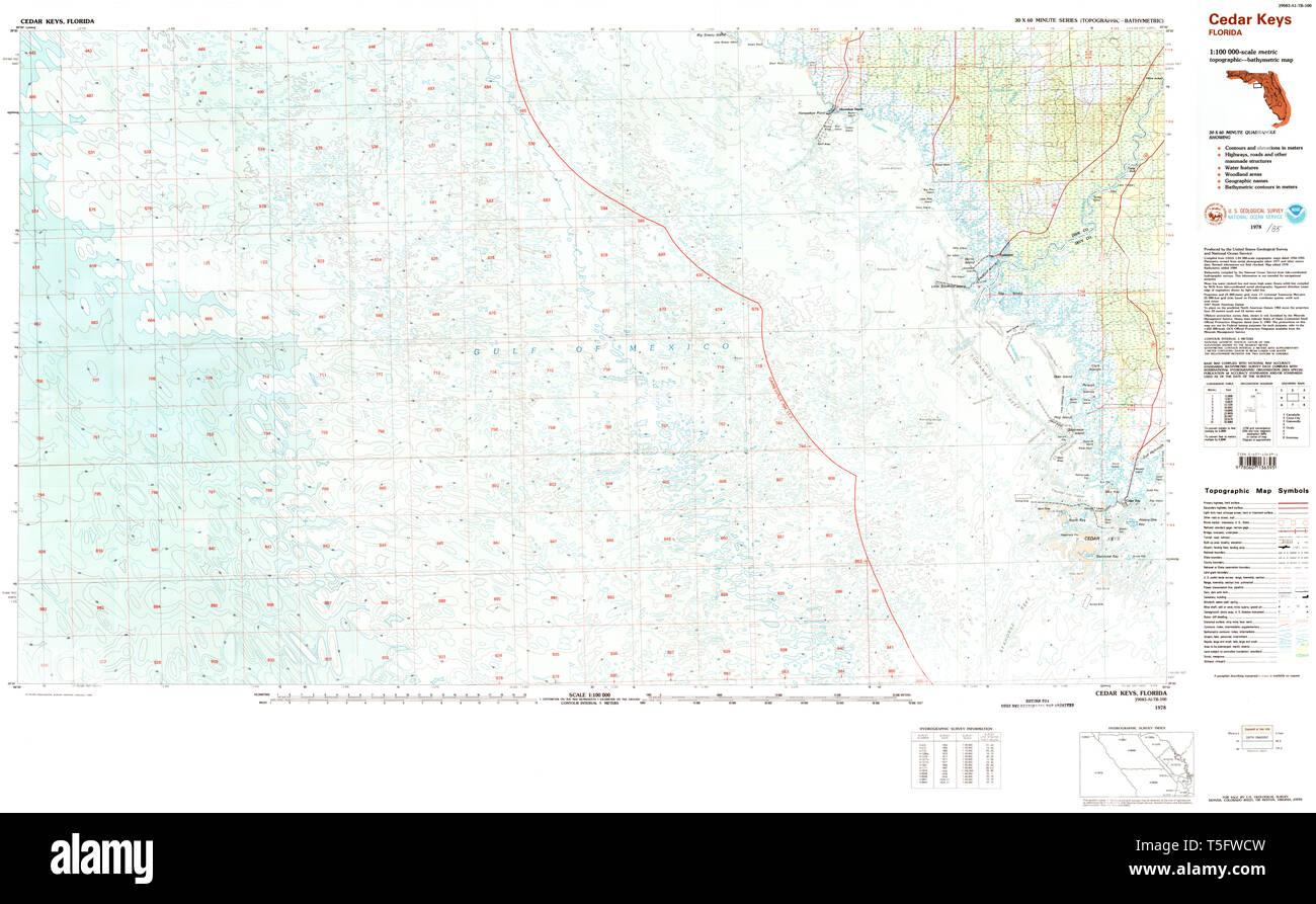 USGS TOPO Map Florida FL Cedar Keys 345455 1978 100000 Restoration Cedar Keys Florida Map on