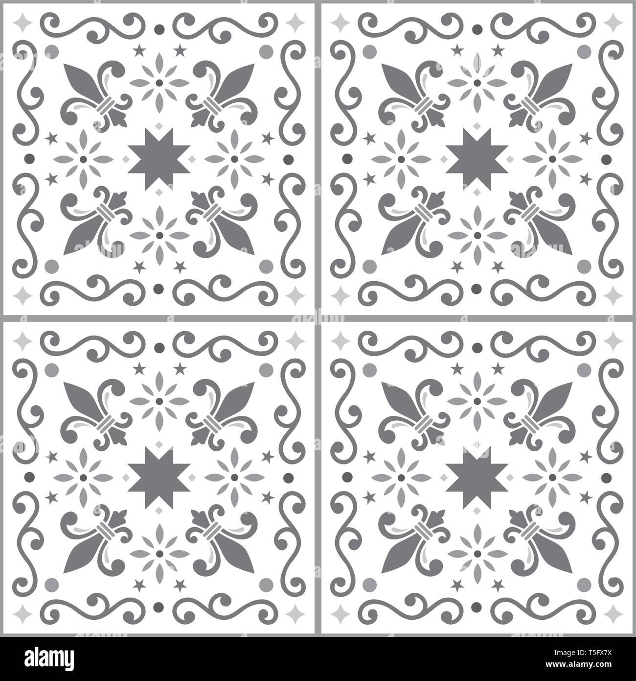 Azulejos seamless vector pattern, gray Portuguese Lisbon tiles design with fleur de lis, flowers and geometric shapes - Stock Vector