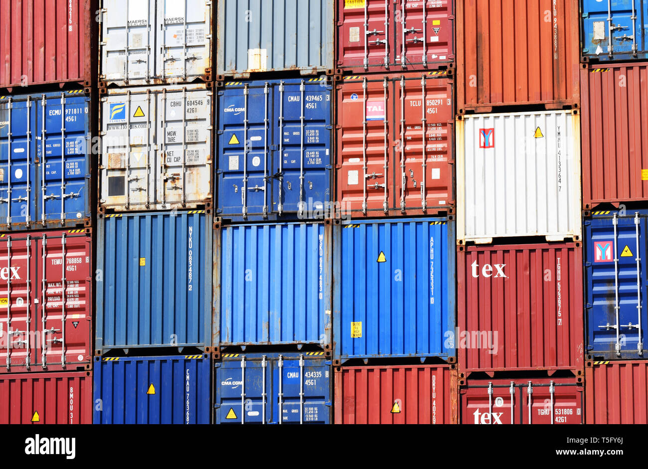 Freight shipping containers at Southampton Docks UK, April 2019 - Stock Image