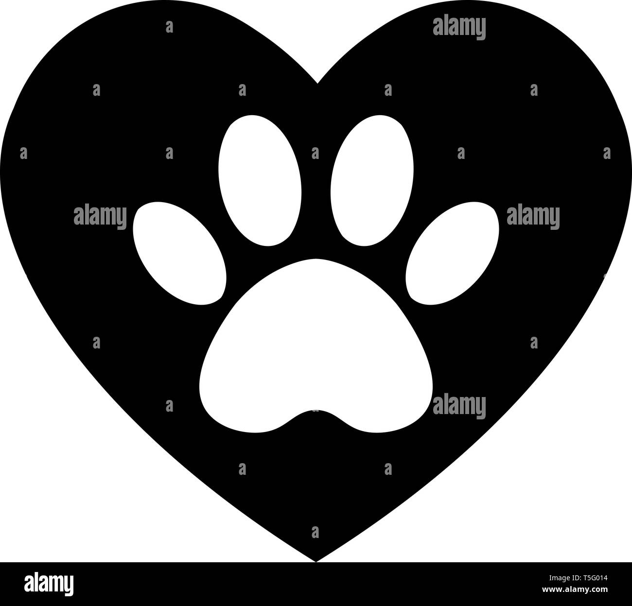 cat and dog paw print inside heart  The dog's track in the heart