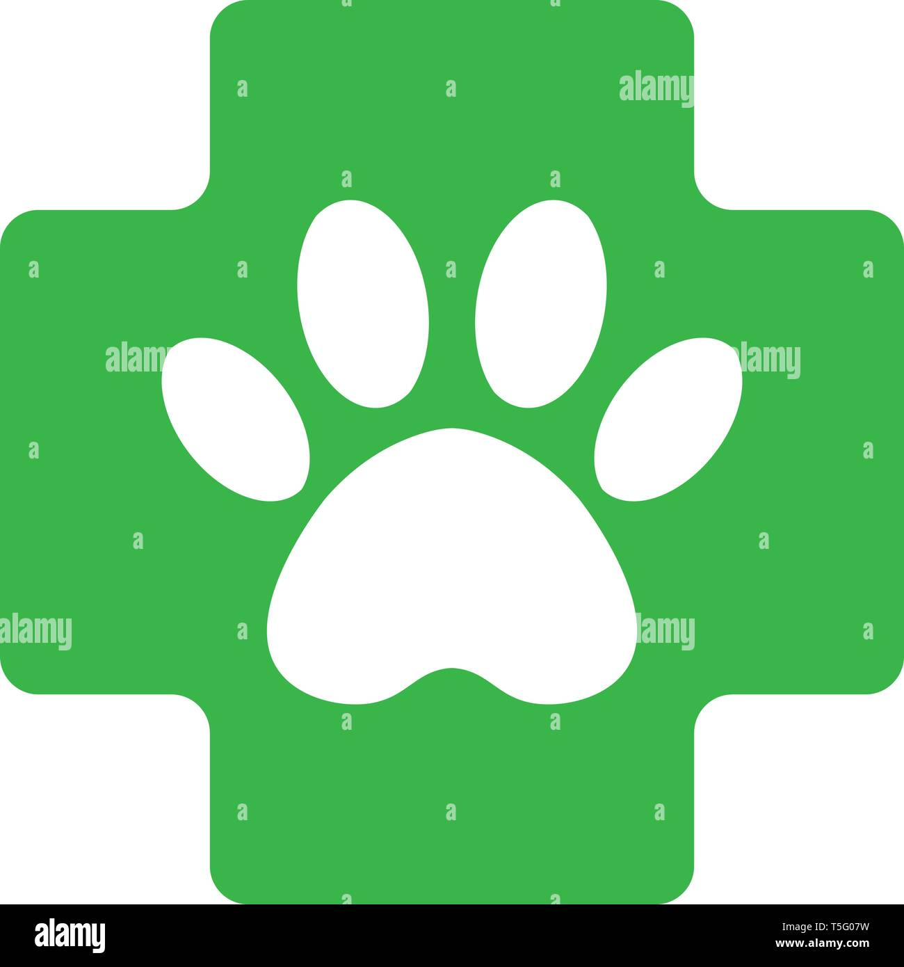 veterinary pharmacy sign. green cross with paw veterinary care symbol icon. - Stock Image