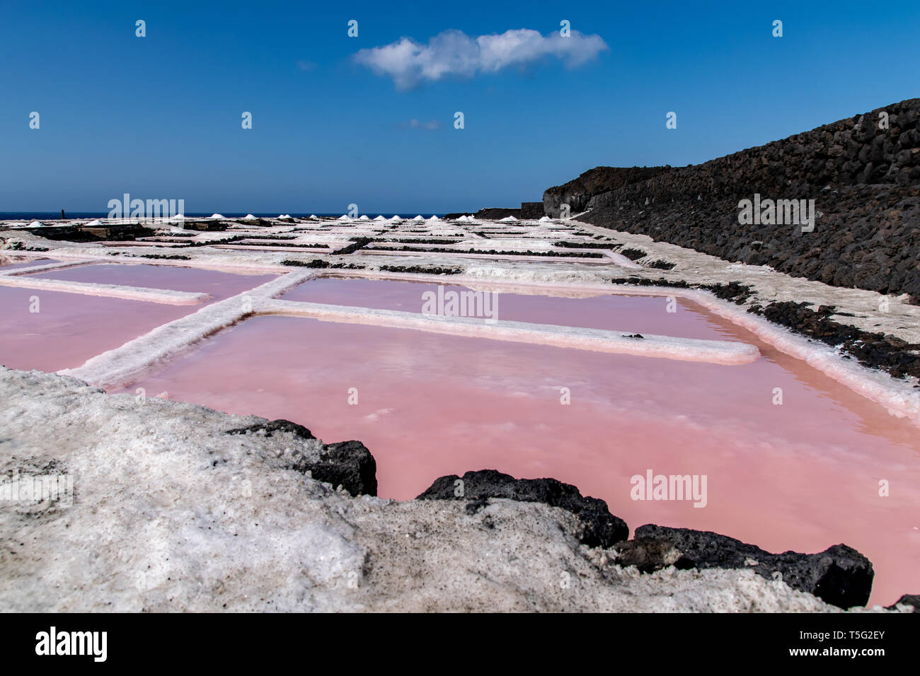 Colors during the salination evaporation process in the salt fields of Fuencaliente, La Palma Island, Canary Islands, Spain Stock Photo